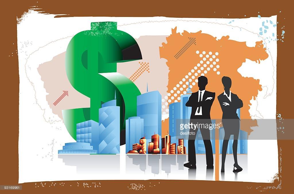 Corporate Giants With Money Map Vector Art.