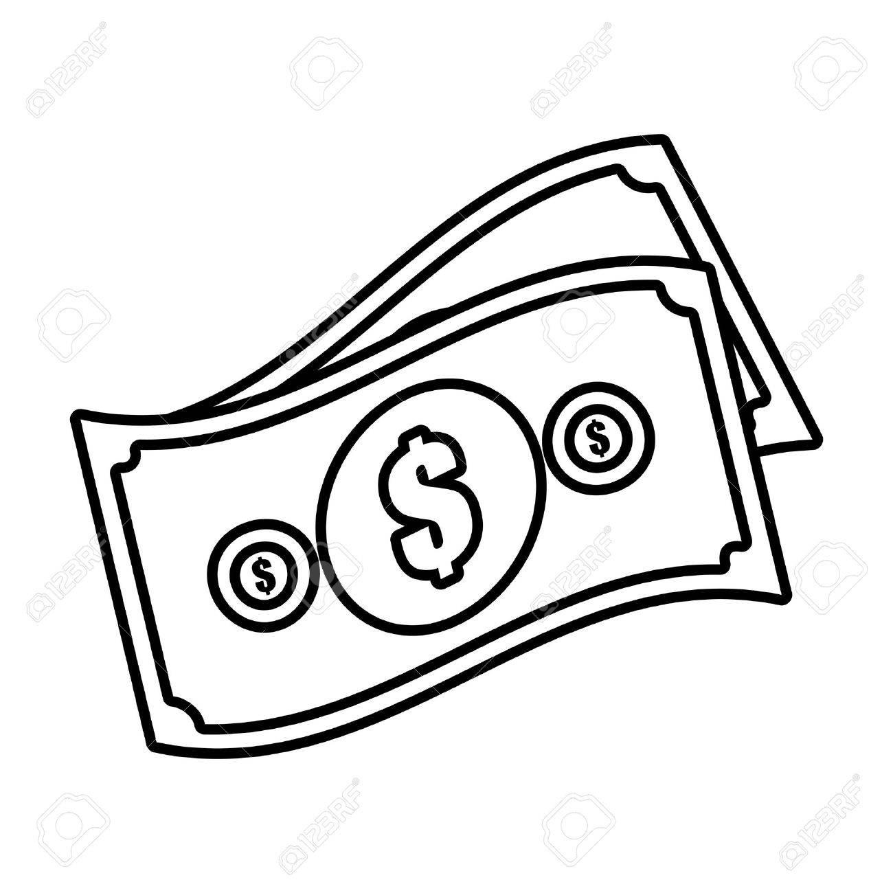 money bills cash dollar design outline vector illustration eps...