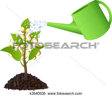 Clipart of Money plant with watering can k3540535.