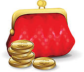 Clip Art of Old purse with coins k2647886.