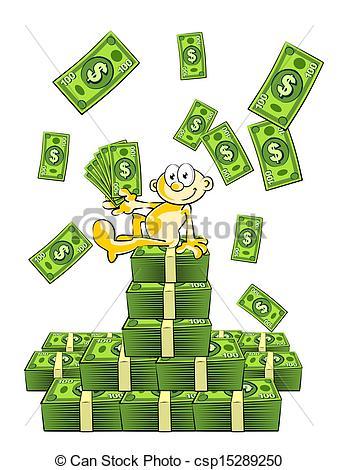 Clipart Vector of Raining money happy man sitting vector.