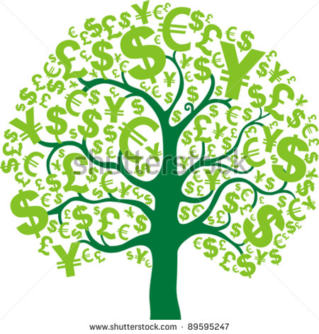 Green money tree isolated on.