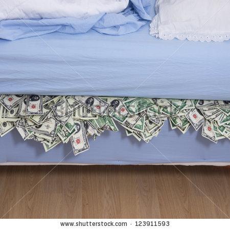 money under mattress clipart #11