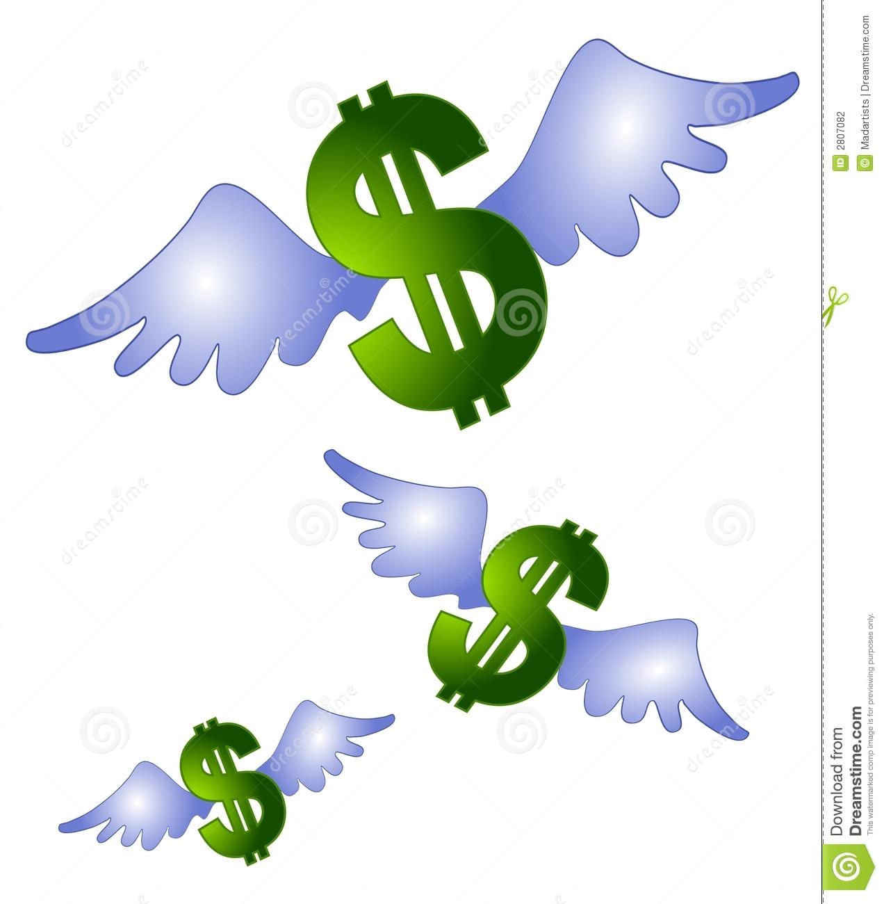 Money Wings Flying Clip Art Stock Illustration.