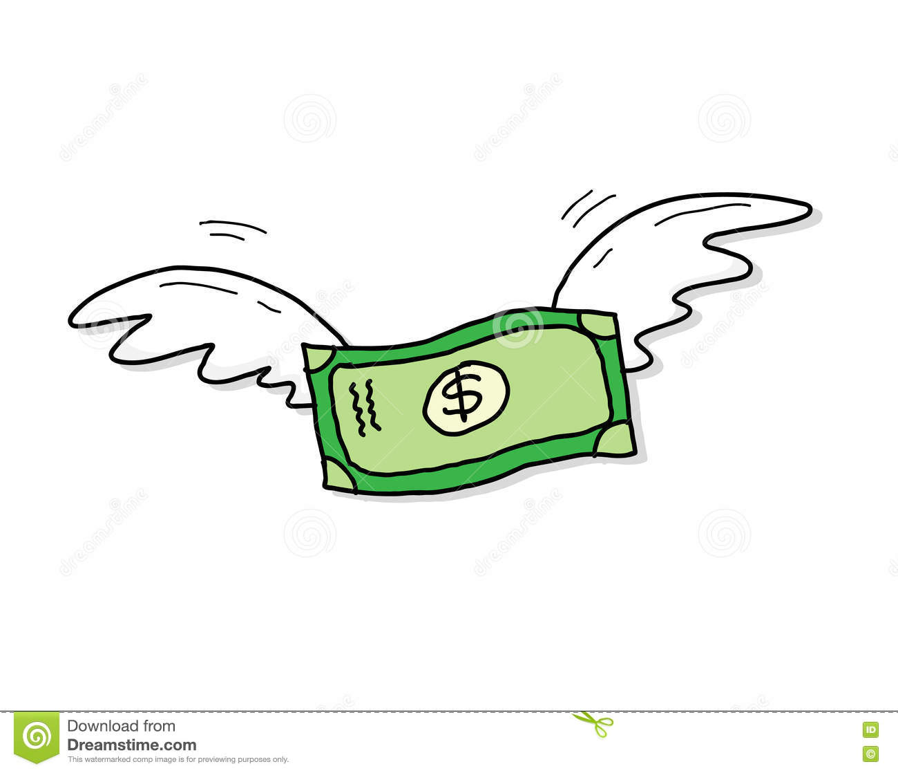 Flying Money Dollar Inflation Stock Vector.
