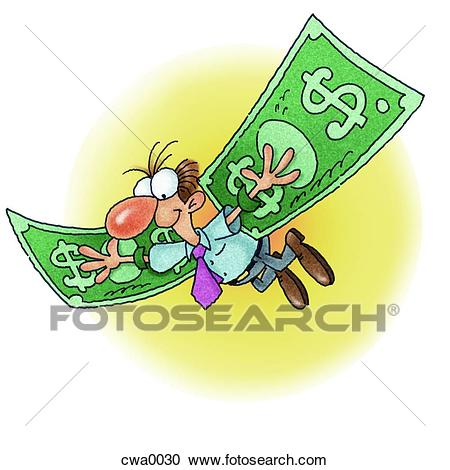 A man with flying with money wings Clipart.