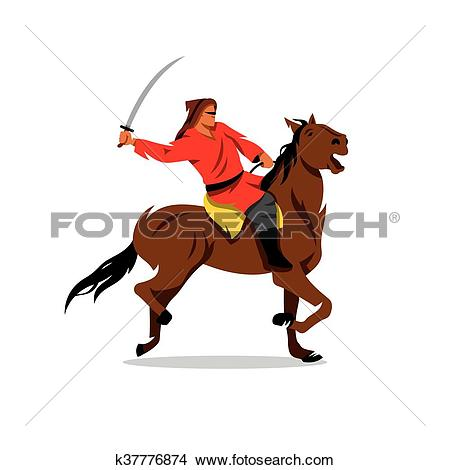 Clipart of Mongolian Warrior with saber on horseback. Vector.
