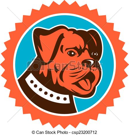 Vector Clip Art of Bulldog Dog Mongrel Head Mascot Rosette.