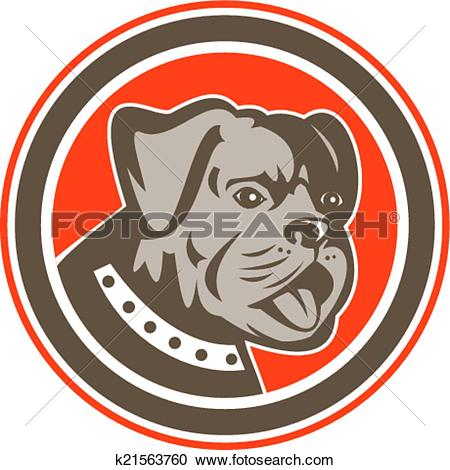 Clipart of Bulldog Dog Mongrel Head Mascot Circle k21563760.