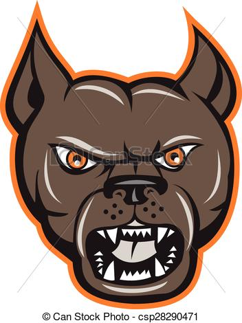 Vector Clipart of Pitbull Dog Mongrel Standing Etching.