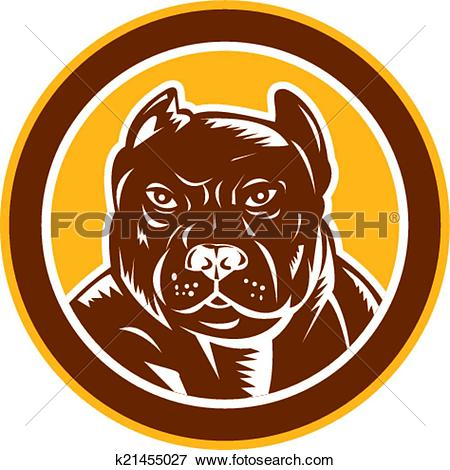 Clip Art of Pitbull Dog Mongrel Head Circle Woodcut k21455027.