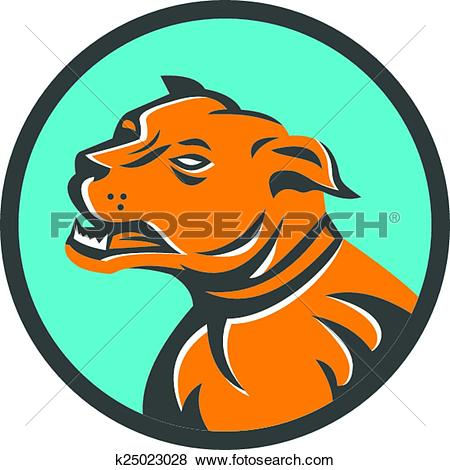 Clip Art of Angry Mastiff Dog Mongrel Head Circle k25023028.