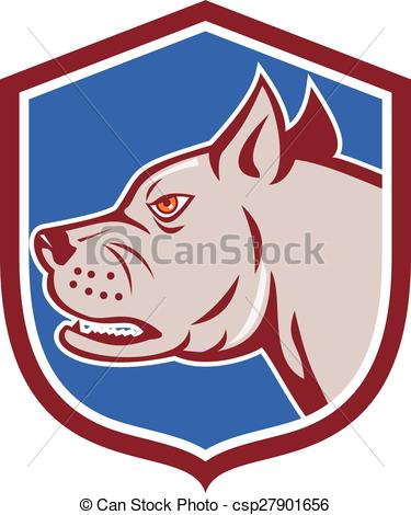 Clipart Vector of Mastiff Dog Mongrel Head Shield Cartoon.