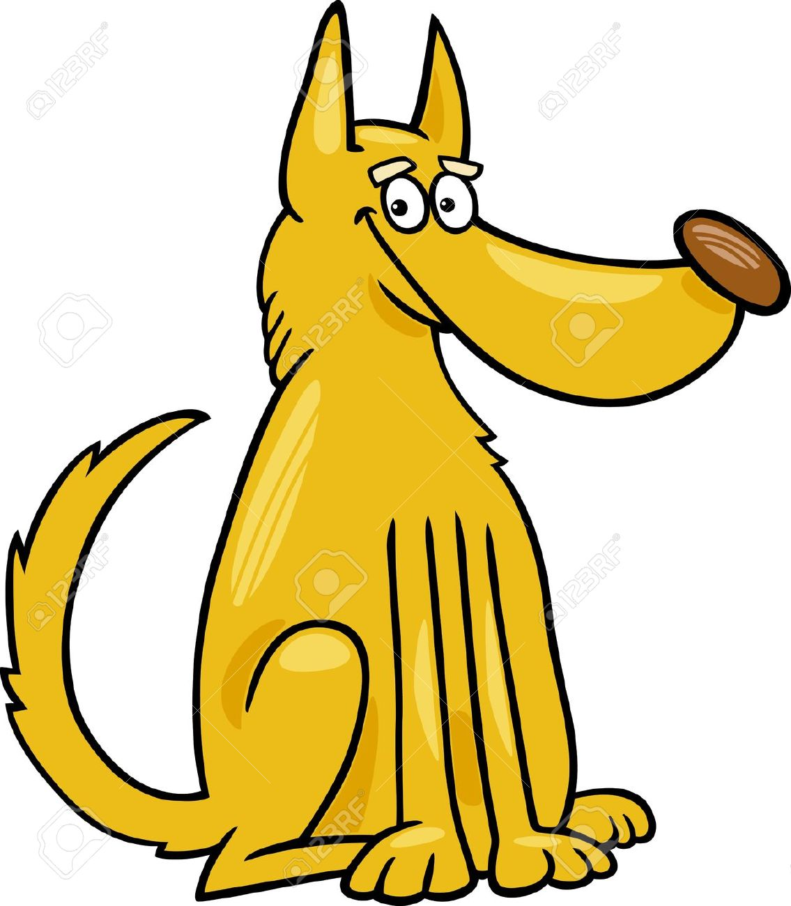 Cartoon Illustration Of Funny Yellow Mongrel Dog Royalty Free.