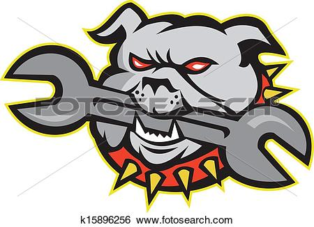 Clip Art of Bulldog Dog Mongrel Head Mascot k15896256.