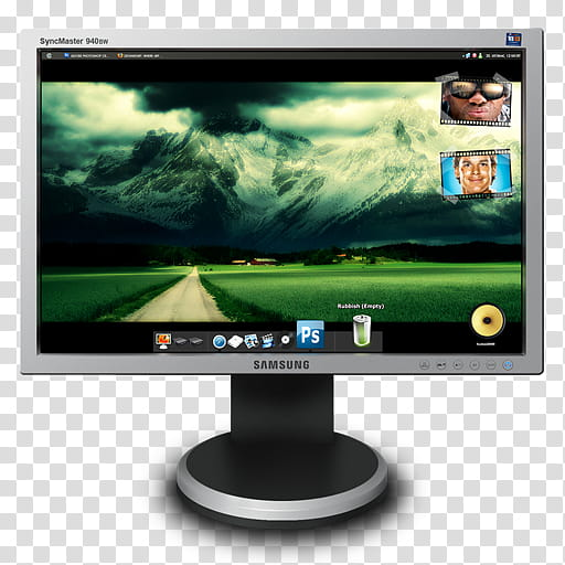 Samsung Monitor PSD file, silver Samsung LED monitor.