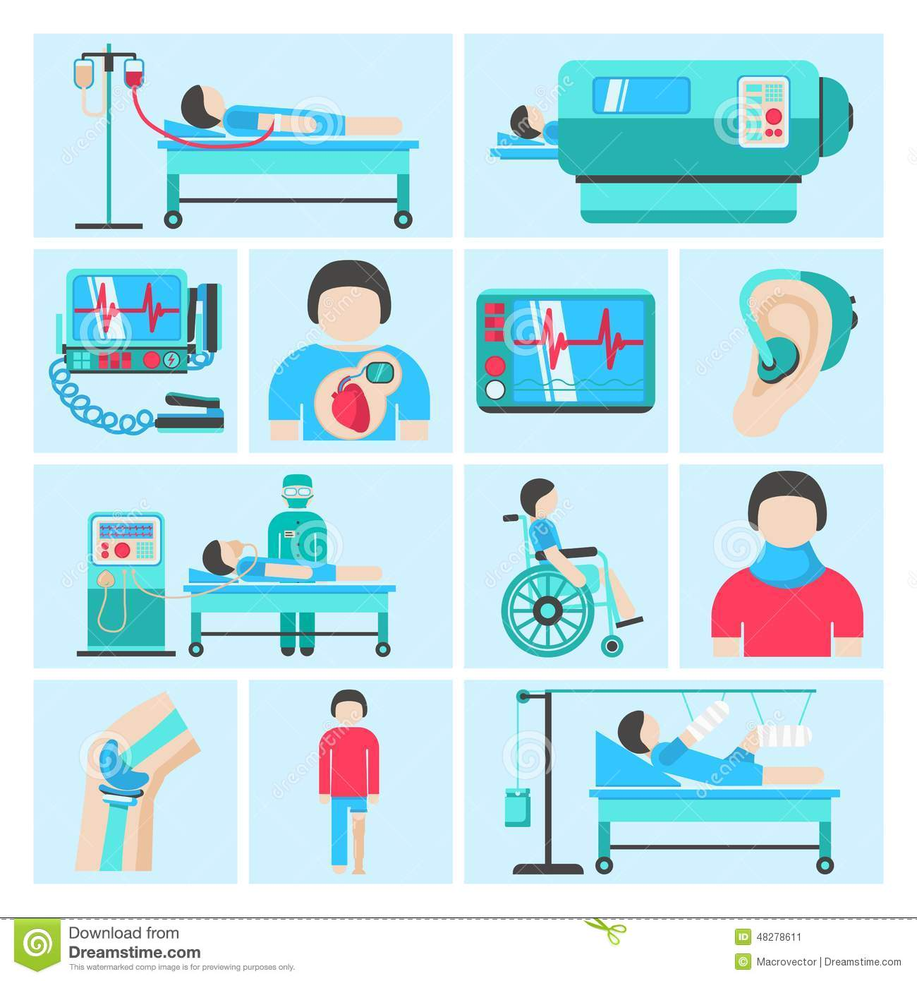 Life Support Medical Equipment Icons Stock Vector.