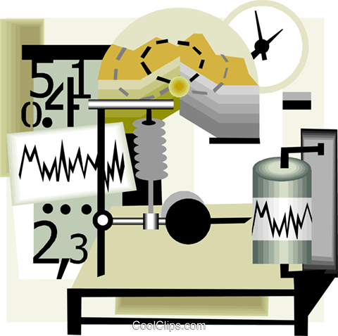 seismology science monitoring equipment Royalty Free Vector Clip.