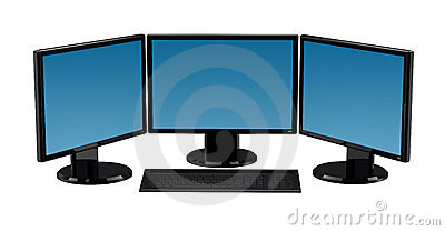 3 monitors clipart.