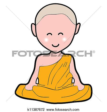 Clipart of Buddhist monk cartoon hand drawn k11390984.
