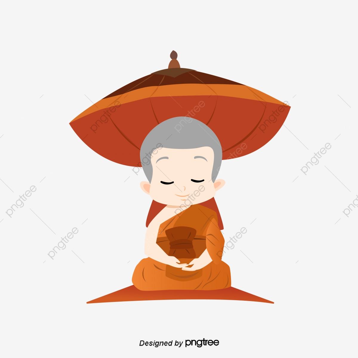 Hand Painted Style Monk Meditation Umbrella, A Monk, Monks.