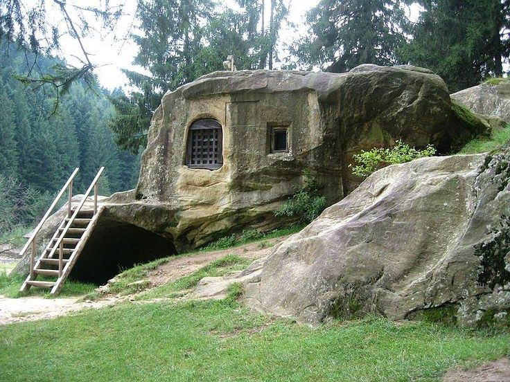 House carved into a stone by a 15th century Romanian monk.