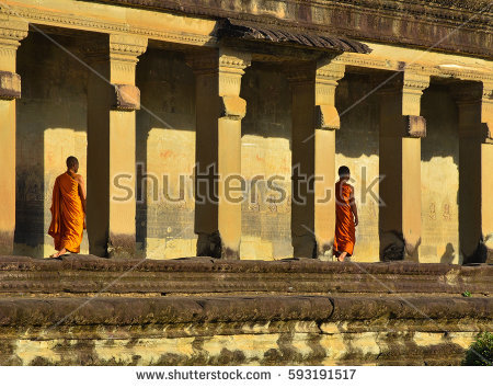 Angkor Monk Stock Photos, Royalty.