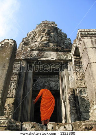 Angkor Wat Monk Stock Images, Royalty.