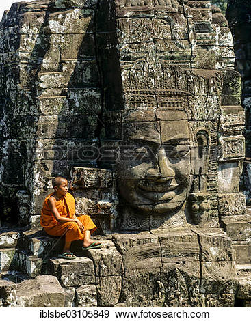 "Stock Photograph of ""Bayon temple, monk, face tower, face of."