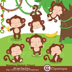 Monkey Baby Shower Clipart.