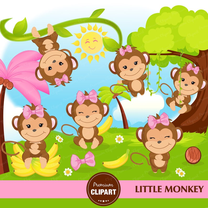 Monkey clipart, Monkey girl clipart, Monkey baby shower, Safari animal  clipart.