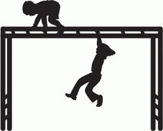 Monkey bars clipart black and white.