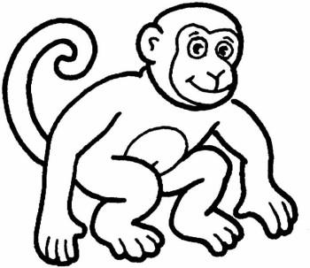 Black And White Monkey Clipart.