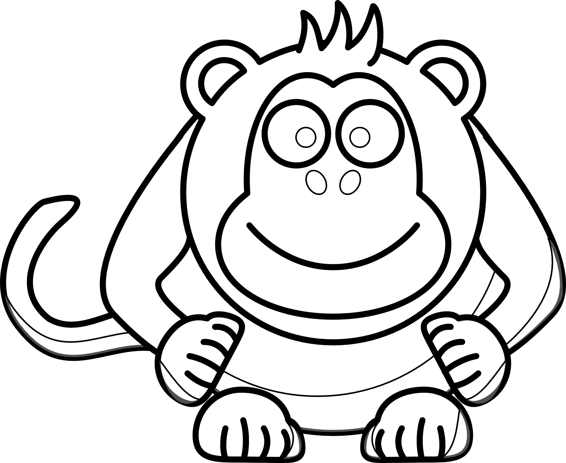 Monkey Clip Art Black And White.