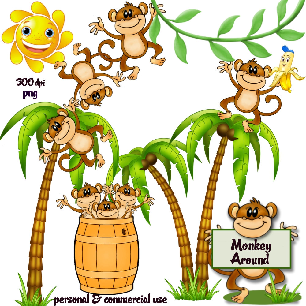 Monkey In Tree Clipart.