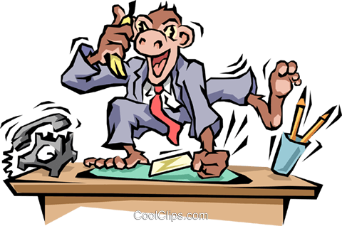 Monkey business Royalty Free Vector Clip Art illustration.