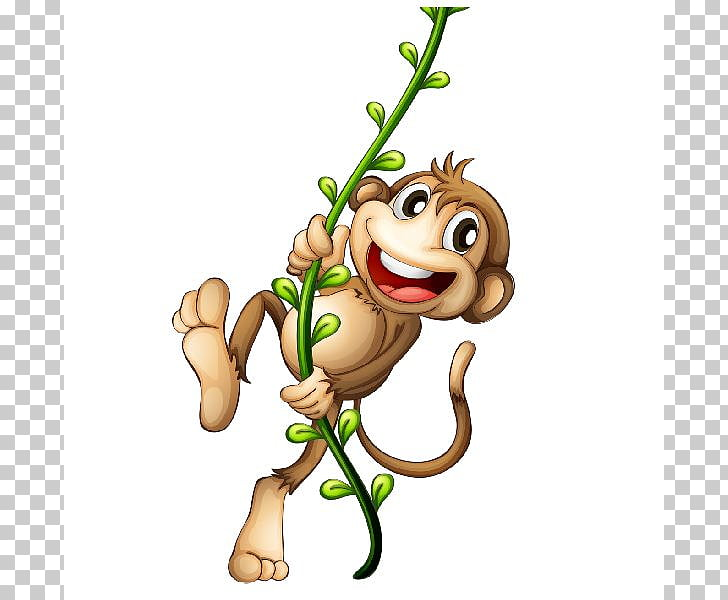 Cartoon , Cartoon Monkey , monkey climbing on green rope PNG.