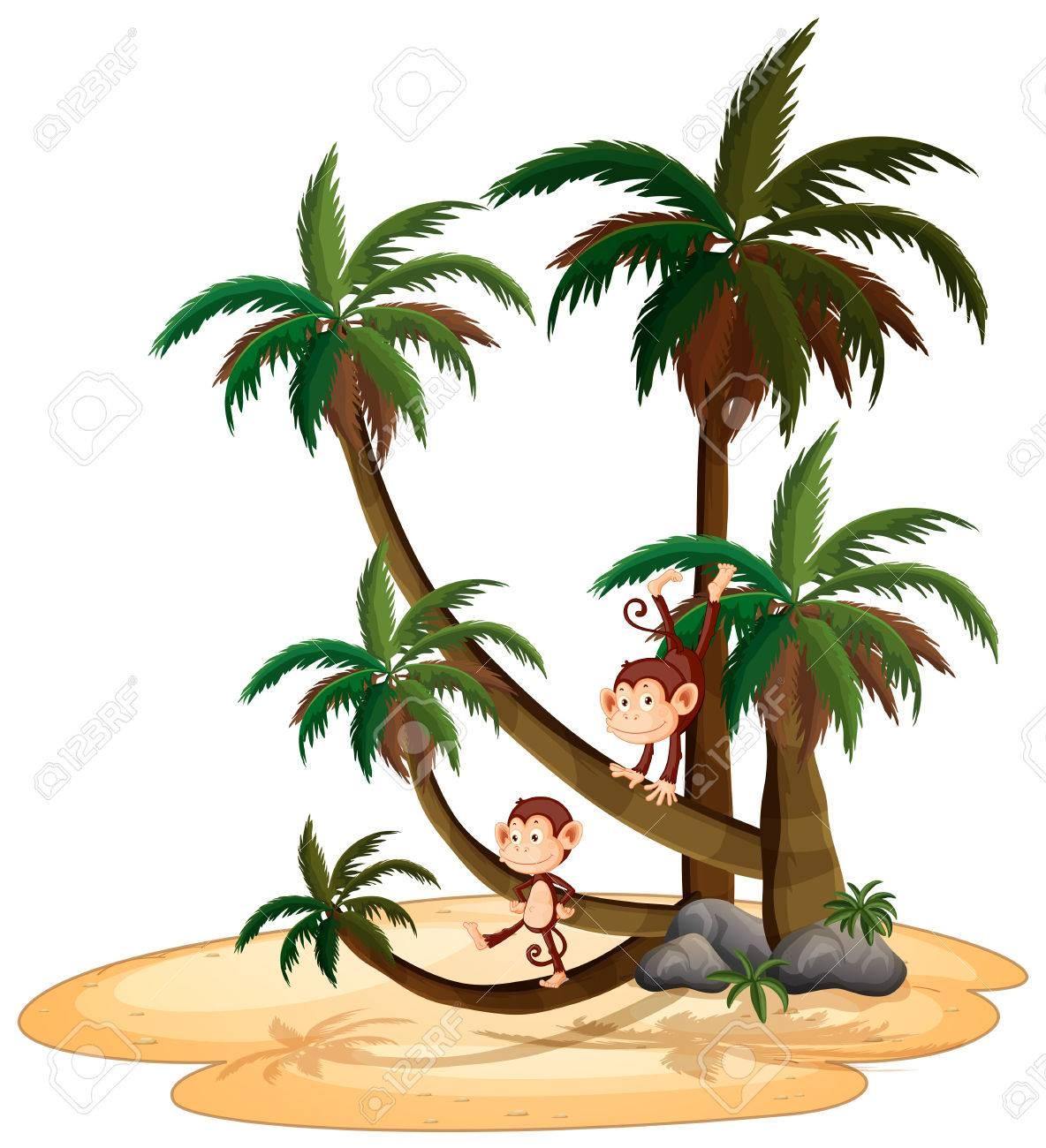 Illustration of monkeys climbing tree.