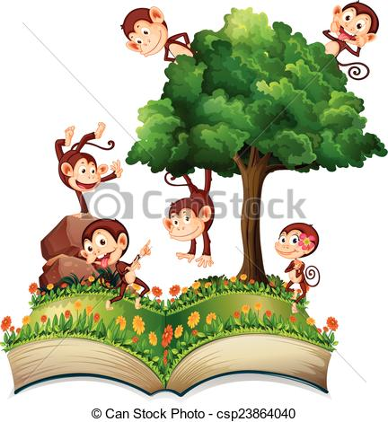 Monkeys and tree.