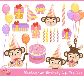 Monkey Girl Birthday Clipart Set.