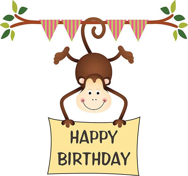 Best Happy Birthday Monkey Clip Art Illustrations, Royalty.