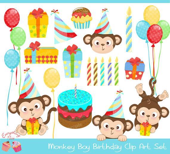 Monkey Boy Birthday Clipart Set.