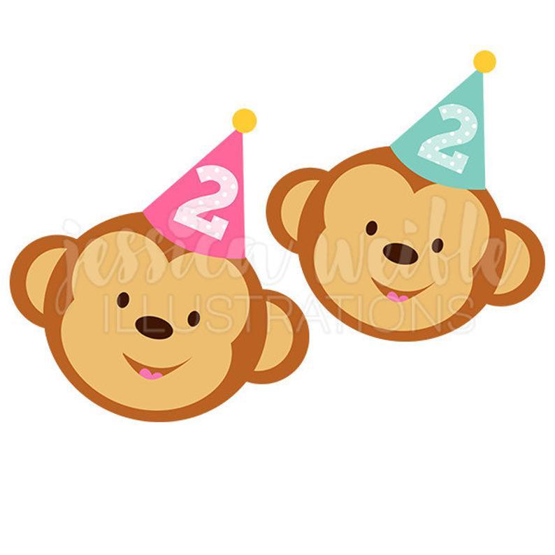 2nd Birthday Monkey Cute Digital Clipart, Cute Birthday Monkey Clip art,  Birthday Graphics, Monkey Illustration, #251.