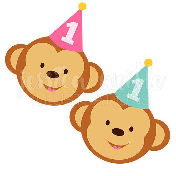 1st Birthday Monkey Cute Digital Clipart, Cute Birthday.