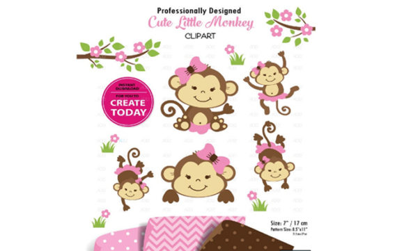 Girl Monkey Clip Art, Cute Monkey Print.