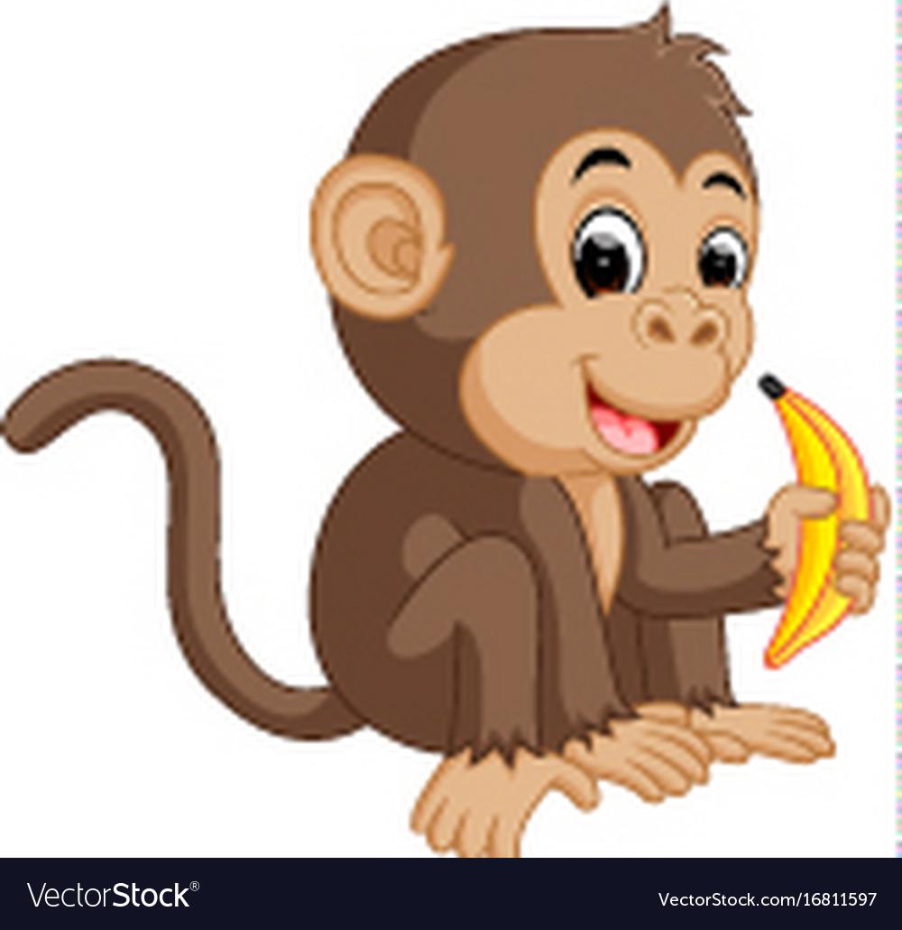 Cute monkey cartoon eating banana.