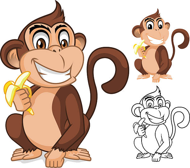 Clip Art Of A Monkeys Eating Banana Illustrations, Royalty.