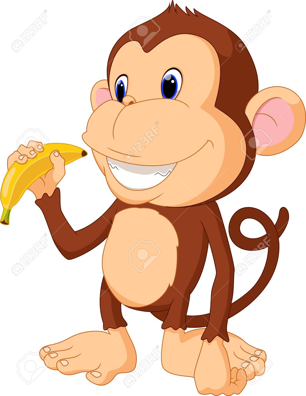 Illustration of funny Monkey eat banana.