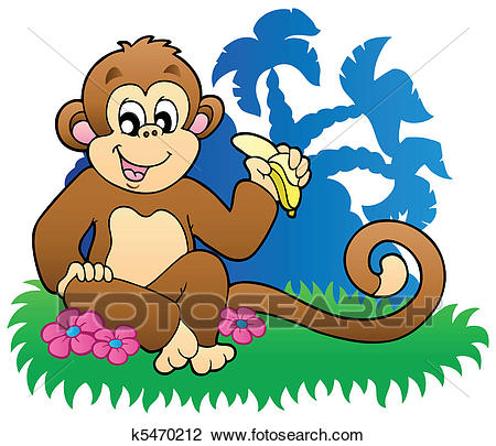 Monkey eating banana near palms Clipart.