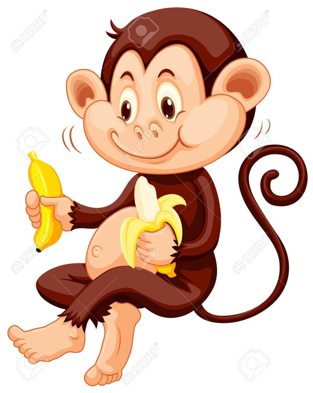 Little monkey eating bananas illustration.